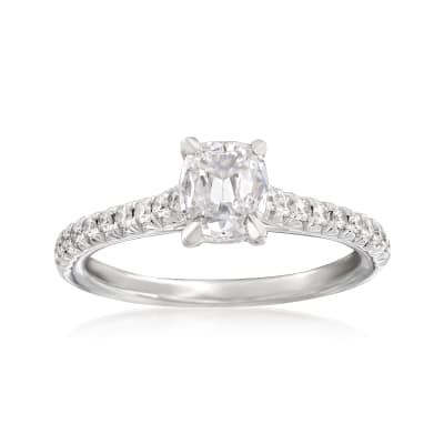 Henri Daussi .91 ct. t.w. Diamond Engagement Ring in 18kt White Gold