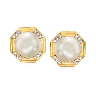 C. 1980 Vintage 15mm Cultured Mabe Pearl and .50 ct. t.w. Diamond Earrings in 14kt Yellow Gold