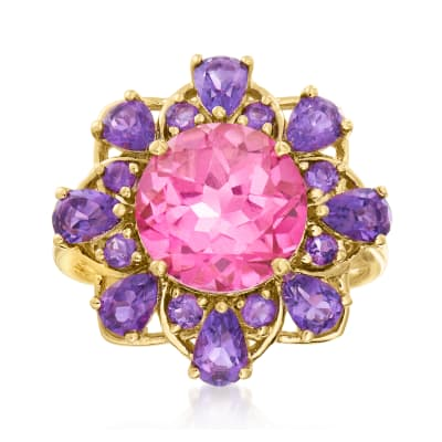 4.50 Carat Pink Topaz and 1.70 ct. t.w. Amethyst Ring in 14kt Yellow Gold