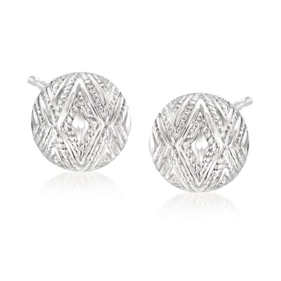 "Andrea Candela ""Tapiceria"" Sterling Silver Chevron Stud Earrings"
