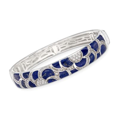 "Belle Etoile ""Adina"" Lapis and 1.00 ct. t.w. CZ Bangle Bracelet in Sterling Silver"