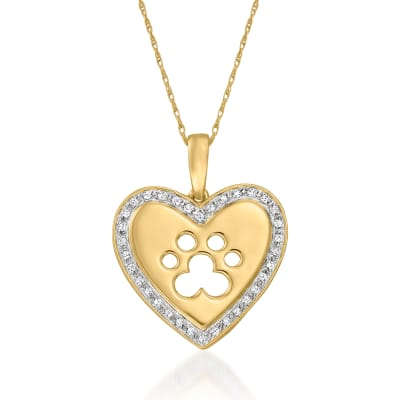 .25 ct. t.w. Diamond Paw Print Heart Pendant Necklace in 18kt Gold Over Sterling