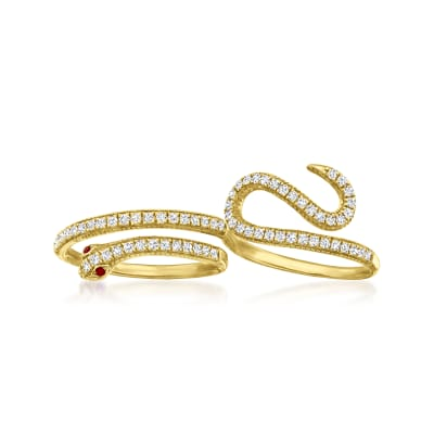 .50 ct. t.w. Diamond Two-Finger Snake Ring with Ruby Accents in 18kt Yellow Gold