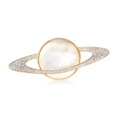 Mother-Of-Pearl and .20 ct. t.w. Diamond Planet Pin in 18kt Yellow Gold Over Sterling Silver