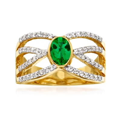.50 ct. t.w. White Zircon and .45 Carat Green Chrome Diopside Crisscross Ring in 18kt Gold Over Sterling
