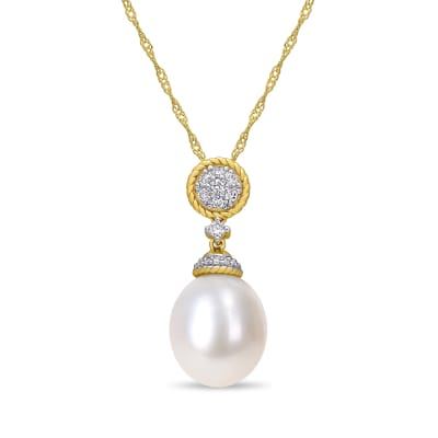 10-10.5mm Cultured Pearl and .13 ct. t.w. Diamond Drop Necklace in 14kt Yellow Gold