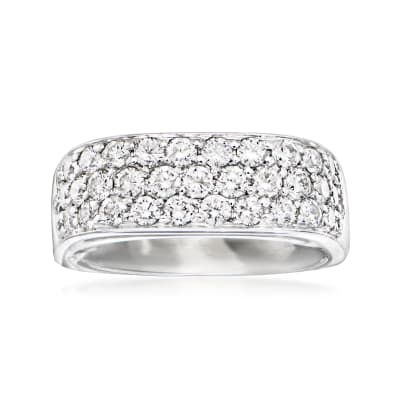 C. 1980 Vintage 1.50 ct. t.w. Diamond Three-Row Ring in 14kt White Gold