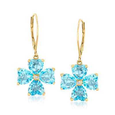 Swiss Blue Topaz Flower Drop Earrings in 14kt Yellow Gold
