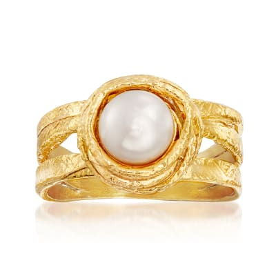 7-8mm Cultured Pearl Ring in 18kt Gold Over Sterling