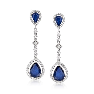 4.60 ct. t.w. Sapphire and .83 ct. t.w. Diamond Drop Earrings in 14kt White Gold