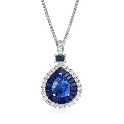 5.01 ct. t.w. Ceylon Sapphire and .60 ct. t.w. Diamond Pendant Necklace in 14kt White Gold