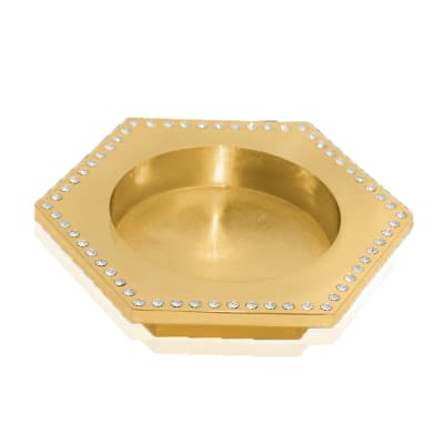 Crystamas Swarovski Crystal Goldtone Hexagon Wine Coaster
