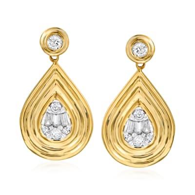 .32 ct. t.w. Diamond Teardrop Earrings in 14kt Yellow Gold