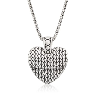 Sterling Silver Bali-Style Heart Pendant Necklace