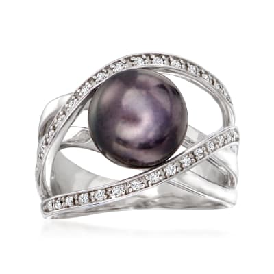 10mm Black Cultured Pearl and .10 ct. t.w. White Zircon Highway Ring in Sterling Silver