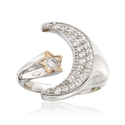 .35 ct. t.w. CZ Moon and Star Cuff Ring in 14kt Yellow Gold and Sterling Silver