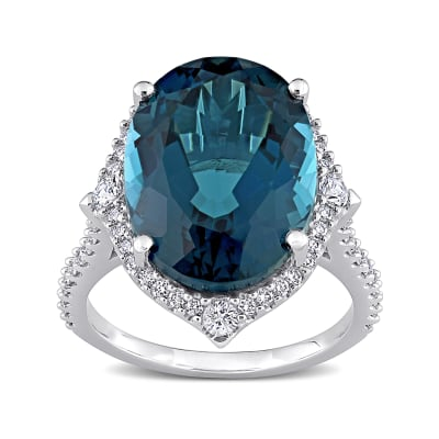 12.00 Carat London Blue Topaz Ring with .39 ct. t.w. Diamonds and .24 ct. t.w. White Sapphires in 14kt White Gold
