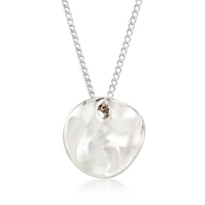 "Zina Sterling Silver ""Contemporary"" Mini Mobius Disc Necklace"