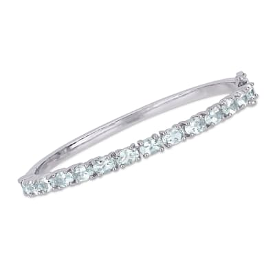 6.25 ct. t.w. Aquamarine Bangle Bracelet in Sterling Silver