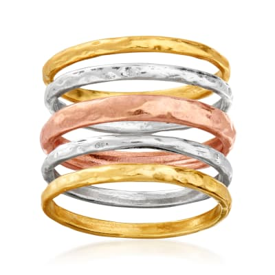 18kt Tri-Colored Sterling Silver Jewelry Set: Five Hammered Rings