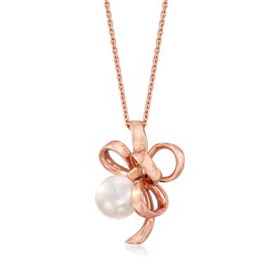 "Mikimoto ""Ribbon"" 8.25mm A+ Akoya Pearl Adjustable Pendant Necklace in 18kt Rose Gold"