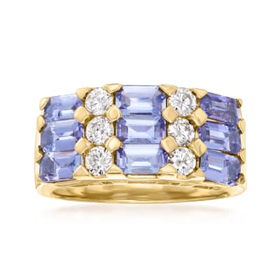 3.60 ct. t.w. Tanzanite and .60 ct. t.w. Diamond Three-Row Ring in 14kt Yellow Gold