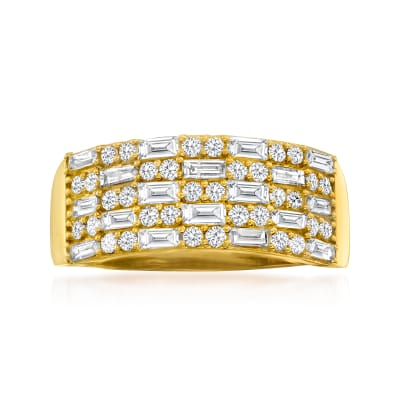 1.00 ct. t.w. Baguette and Round Diamond Ring in 14kt Yellow Gold