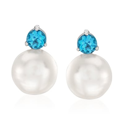 11-12mm Cultured Pearl and 1.20 ct. t.w. Swiss Blue Topaz Earrings in Sterling Silver
