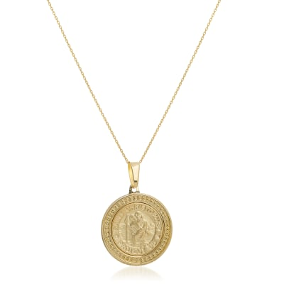 14kt Yellow Gold Framed St. Christopher Pendant Necklace