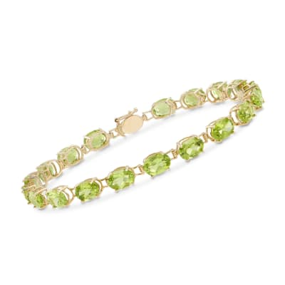 15.00 ct. t.w. Oval Peridot Bracelet in 14kt Yellow Gold