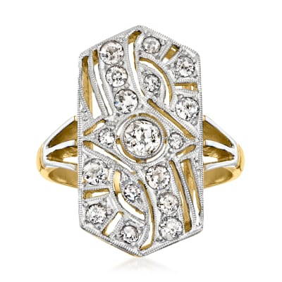 C. 1970 Vintage .55 ct. t.w. Diamond Shield Ring in Platinum and 18kt White Gold