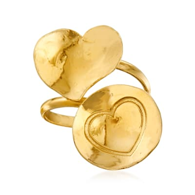 Italian 18kt Gold Over Sterling Heart Bypass Ring