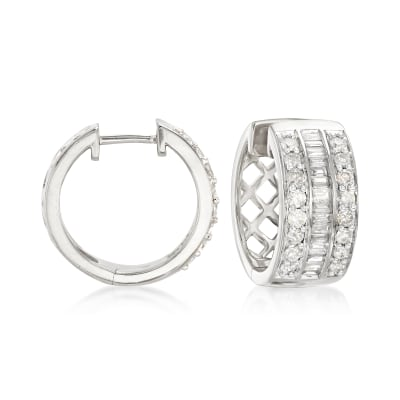 1.00 ct. t.w. Baguette and Round Diamond Hoop Earrings in Sterling Silver
