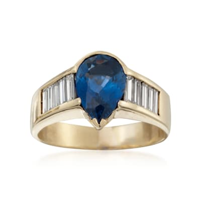 C. 1980 Vintage 2.70 Carat  Sapphire and 1.35 ct. t.w. Diamond Ring in 18kt Yellow Gold