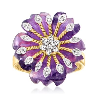 C. 1980 Vintage Carved Amethyst and .22 ct. t.w. Flower Ring in 14kt Yellow Gold
