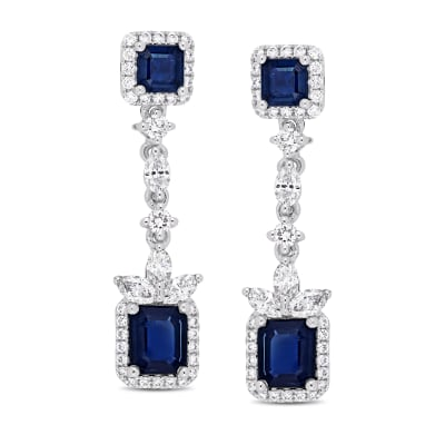 2.50 ct. t.w. Sapphire and .99 ct. t.w. Diamond Drop Earrings in 14kt White Gold