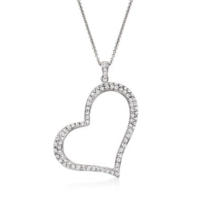 C. 1990 Vintage .79 ct. t.w. Diamond Open-Space Heart Pendant Necklace in 18kt White Gold