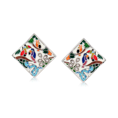 "Belle Etoile ""Tropical Rainforest"" Ivory and Multicolored Enamel Earrings with .10 ct. t.w. CZs in Sterling Silver"