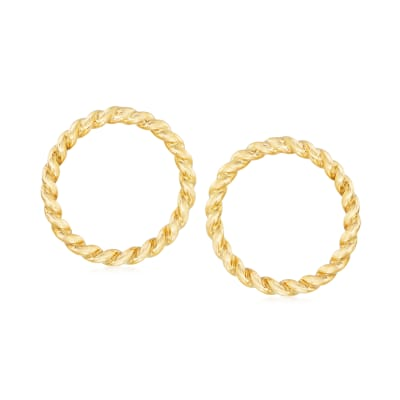 Italian 14kt Yellow Gold Twisted Open-Circle Earrings