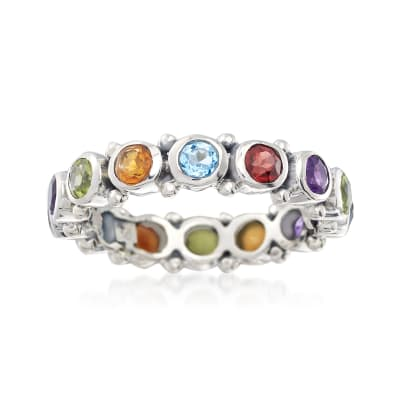 1.50 ct. t.w. Multi-Gemstone Eternity Band in Sterling Silver