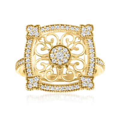 .40 ct. t.w. Diamond Vintage-Style Cluster Ring in 18kt Gold Over Sterling
