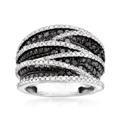 2.20 ct. t.w. Black and White Diamond Crisscross Ring in Sterling Silver