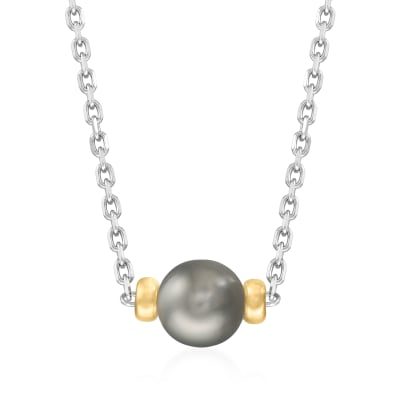 8-8.5mm Black Cultured Tahitian Pearl Necklace in Sterling Silver with 14kt Yellow Gold