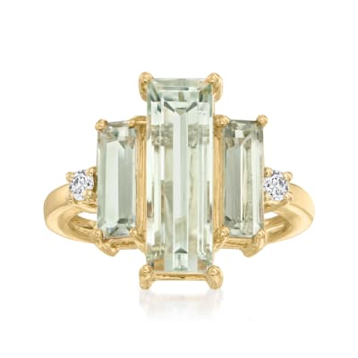 5.20 ct. t.w. Prasiolite and .12 ct. t.w. Diamond Ring in 14kt Yellow Gold