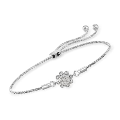.14 ct. t.w. Diamond Flower Bolo Bracelet in 14kt White Gold