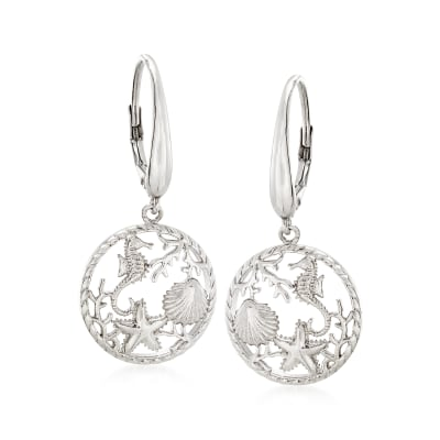 Sterling Silver Sea Life Drop Earrings