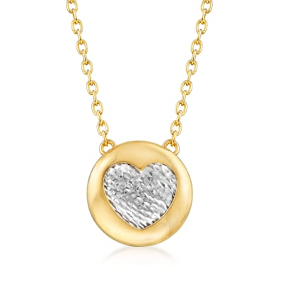 Italian 14kt Two-Tone Gold Heart Necklace
