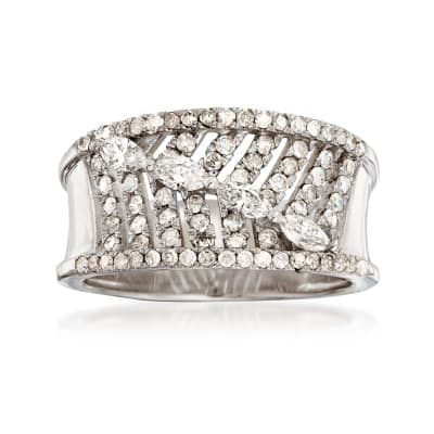 .83 ct. t.w. Diamond Feather Ring in 14kt White Gold