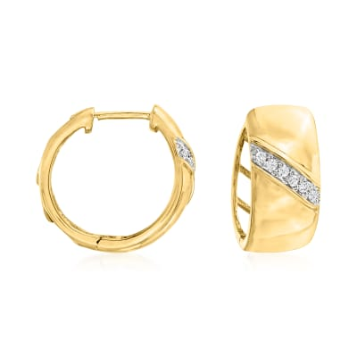 18kt Gold Over Sterling Silver Hoop Earrings with Diamond Accents