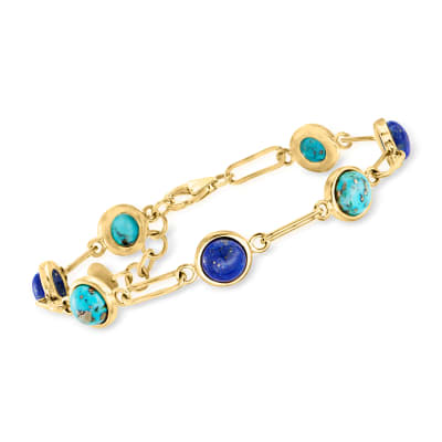 Lapis and Turquoise Paper Clip Bracelet in 18kt Gold Over Sterling